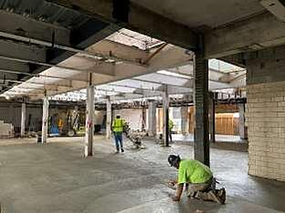 1st floor concrete installation in main lobby