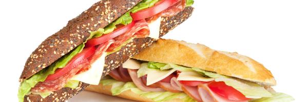 Italian sandwich on wheat bread and sub roll