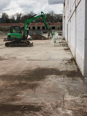 Breaking up concrete slab
