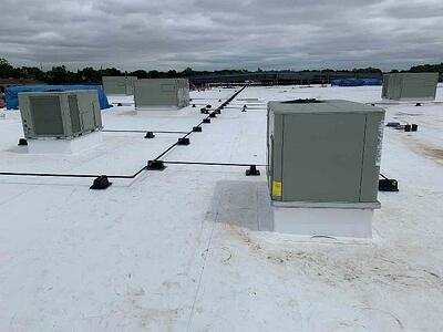 GAS PIPING INSTALLATION ON ROOF NEARING COMPLETION