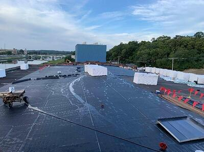 LOOKING SOUTH – PROGRESS ON THE INSTALLATION OF THE NEW ROOF