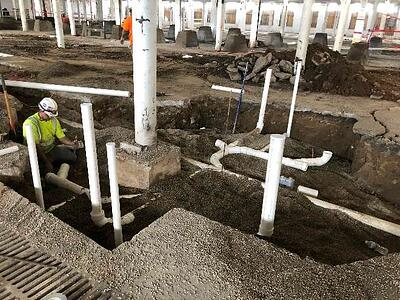 UNDERGROUND SANITARY SEWER PIPING IN SECTOR 4