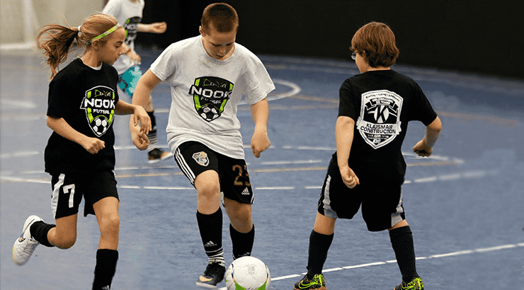 children playing futsal at Spooky Nook Sports in Manheim, PA