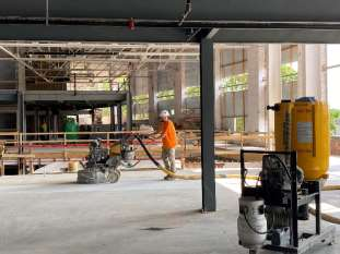 polishing concrete flooring on 2nd floor