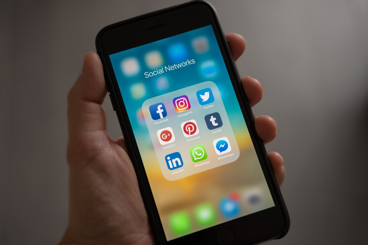 smartphone showing social media icons