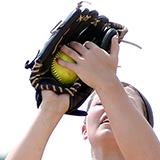 softball catching a pop fly