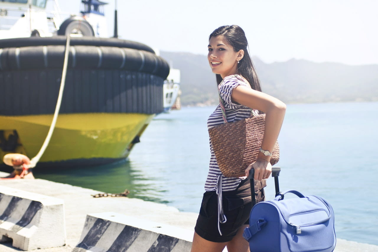 woman boarding cruise ship