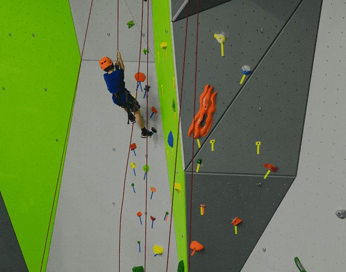 boy climber at Spooky Nook Sports climbing gym