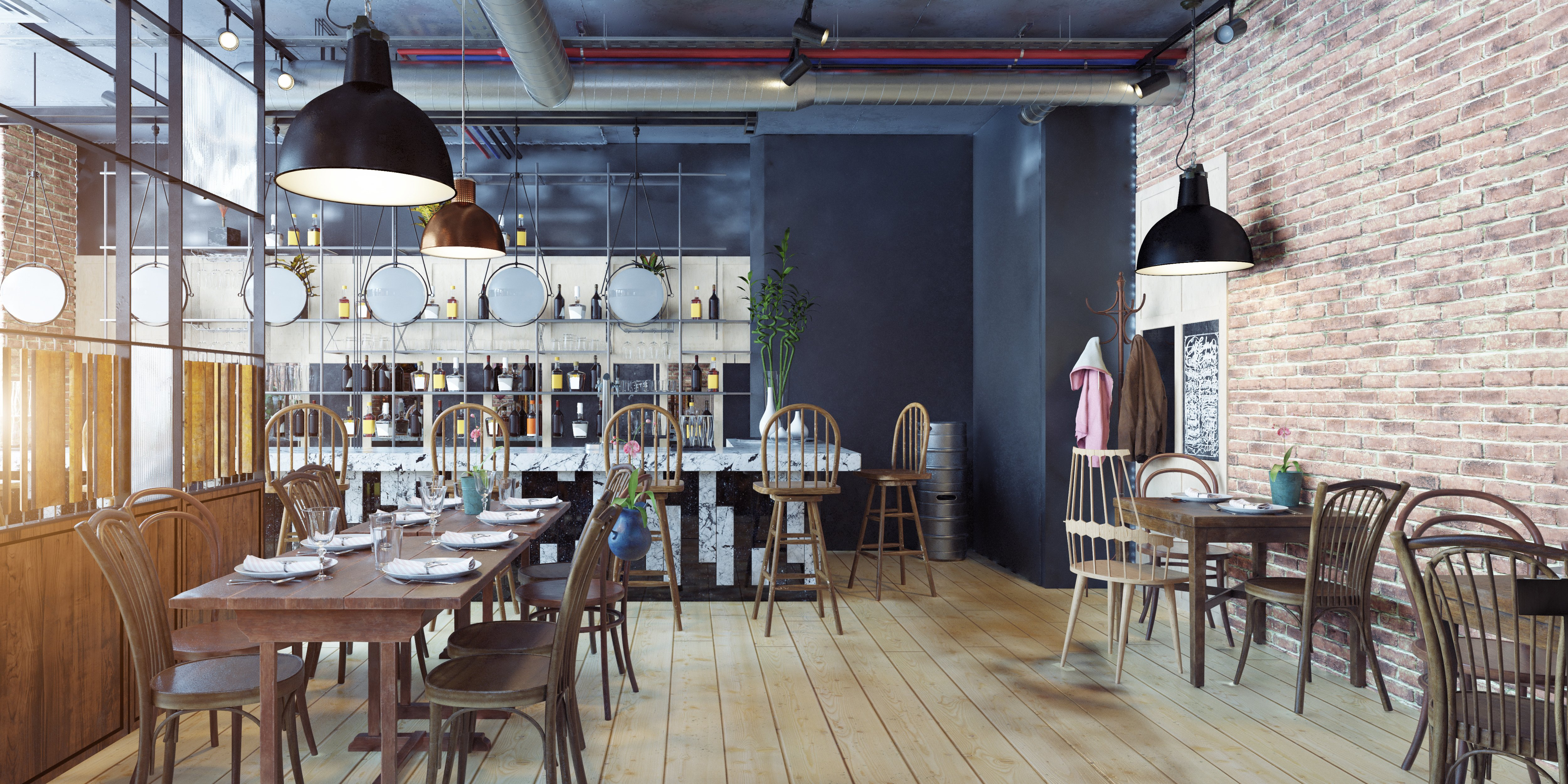 coffee shop with wooden chairs and tables